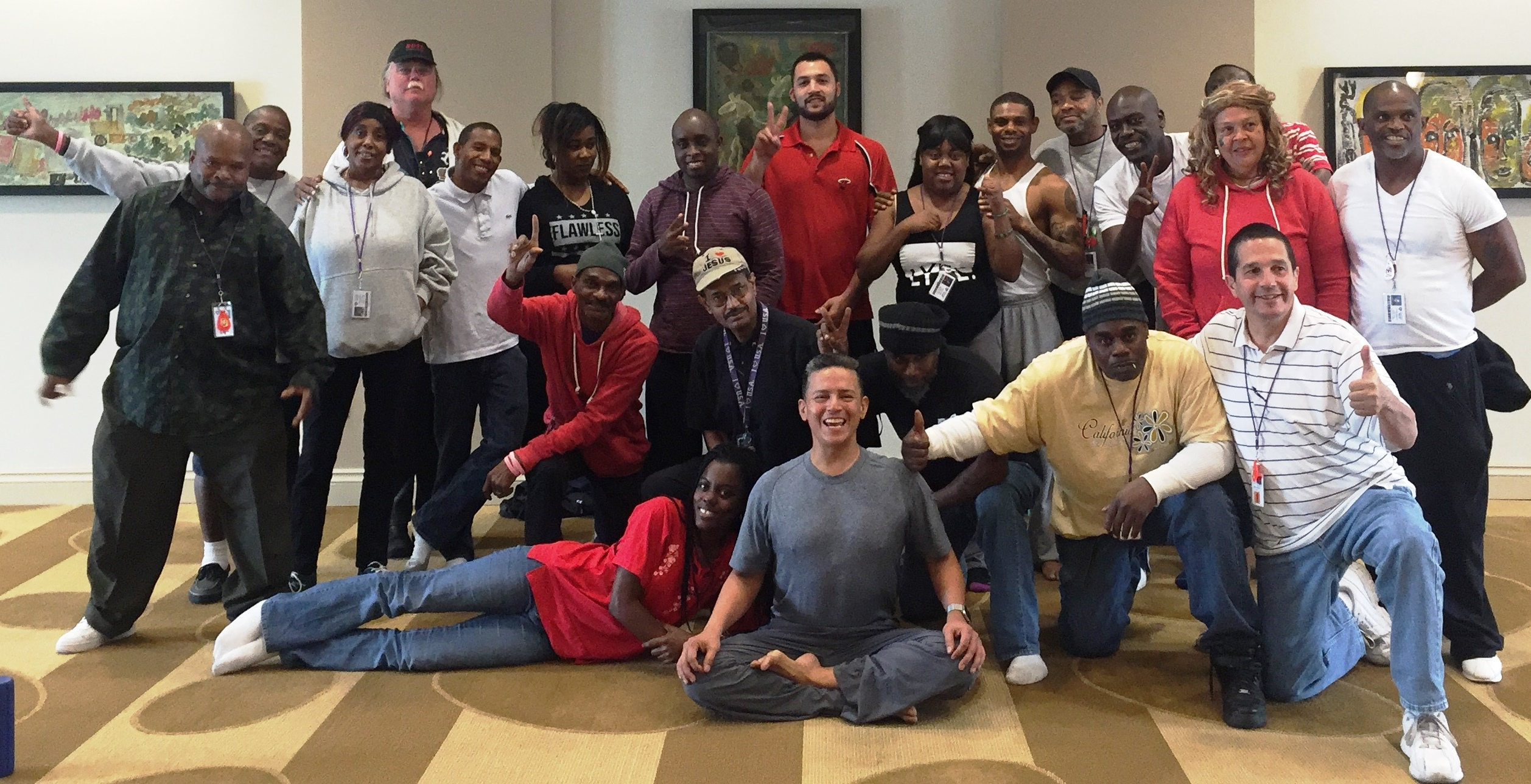 Following Nicolay Del Salto's yoga class at the Camillus House, in Feb. 2016.